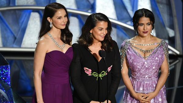 Actresses Ashley Judd (from left), Annabella Sciorra and Salma Hayek spoke about the Time's Up initiative at the 2018 Oscars ceremony.