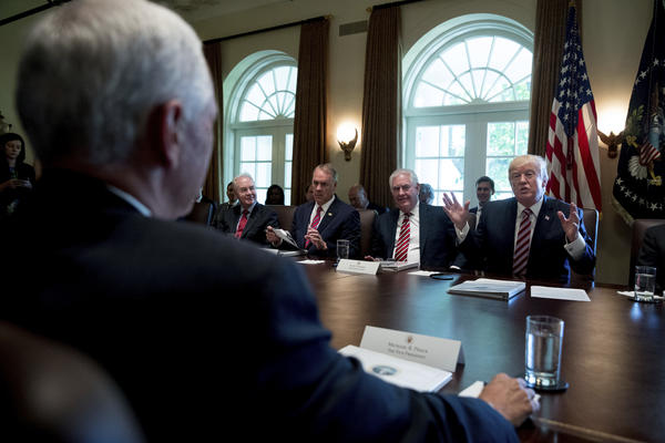 President Trump speaks during a Cabinet meeting on June 12, 2017. From left are, Vice President Pence, foreground, then-Health and Human Services Secretary Tom Price, Interior Secretary Ryan Zinke and Secretary of State Rex Tillerson and the president. Price was fired by Trump last year, Tillerson was fired on March 13.