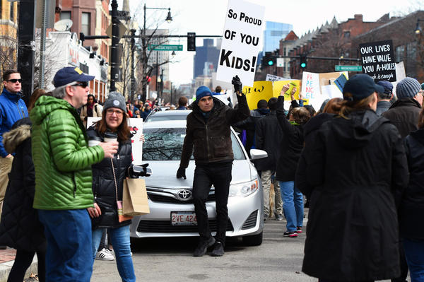 In Boston, protesters marched from Madison Park high school in Roxbury to the Boston Common.