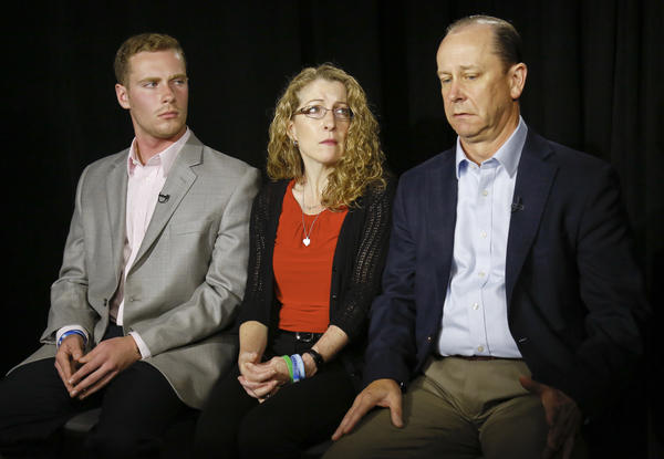 James Piazza (right) seated with wife Evelyn and son Michael speaks during an interview last year about his son Timothy, a Penn State sophomore who died after a hazing ritual.