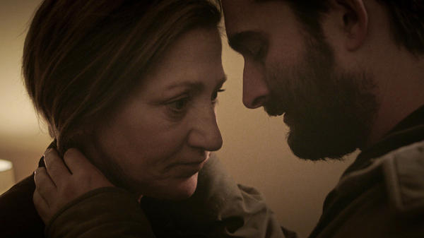 Carol (Edie Falco) and Chris (Jay Duplass) share an intimate moment in Lynn Shelton's <em>Outside In.</em>