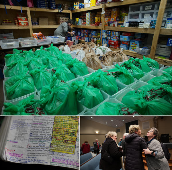 (Top) In a church annex, Necia Freeman prepares the brown bags to give to the women on the street. (Bottom Left) Necia takes notes in her bible. (Bottom right) Necia finishes up at her Bible study group.