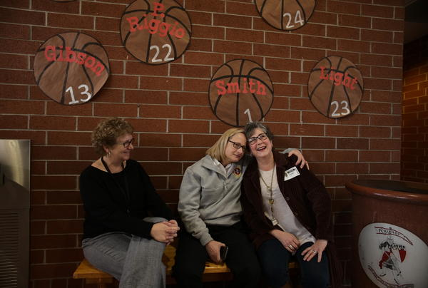 Three women who are leaders in the local fight against heroin: Judge Patricia Keller, Huntington Fire Chief Jan Rader and Necia Freeman, gather in a Huntington high school to deliver facts and support to the students.