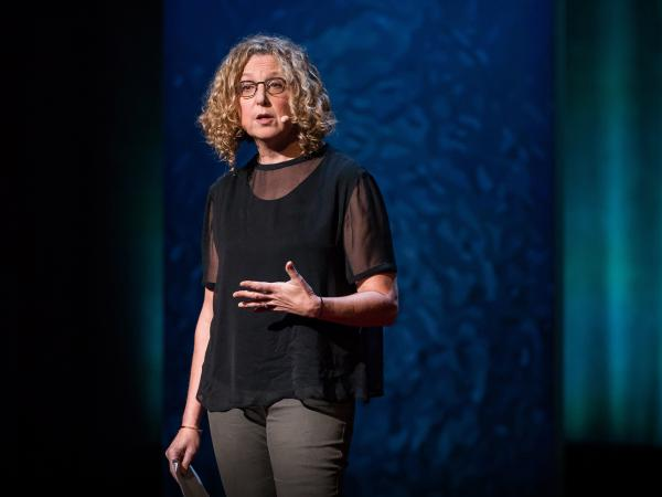 Peggy Orenstein speaks on the TED stage.