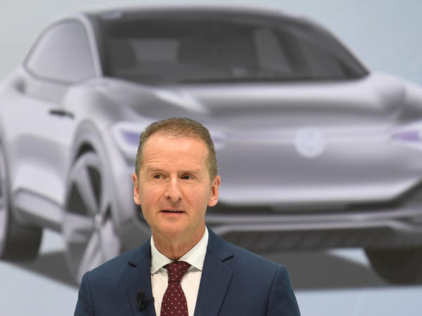 Herbert Diess, Volkswagen's new CEO addresses, the media during a news conference at the company's plant in Wolfsburg, Germany, April 13. As the company turns the page from its diesel emissions cheating scandal, it says its future is electric.