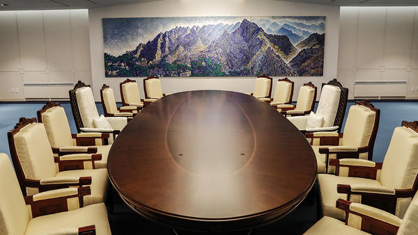The meeting room at the Peace House in Panmunjom, South Korea.