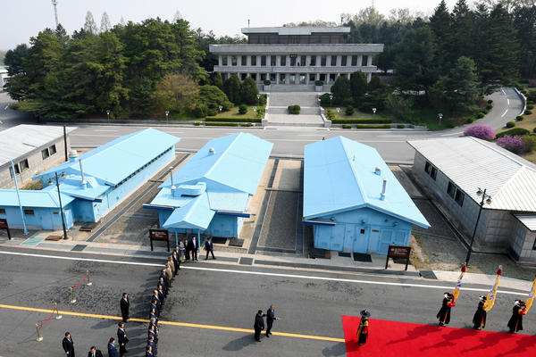 The military demarcation line where the leaders from the both Koreas met for the Inter-Korean Summit in Panmunjom, South Korea.