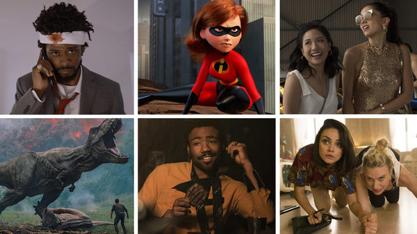 Clockwise from top left: <em>Sorry To Bother You, Incredibles 2, Crazy Rich Asians, The Spy Who Dumped Me, Solo: A Star Wars Story</em> and <em>Jurassic World: Fallen Kingdom</em>.