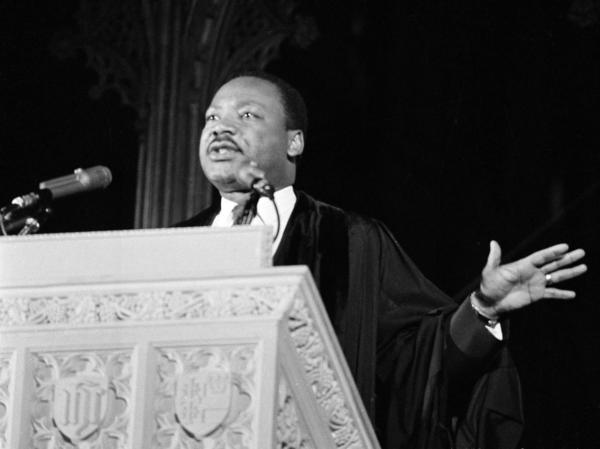 The Rev. Martin Luther King Jr., addressing the audience from the pulpit of the National Cathedral in Washington, D.C., on March 31, 1968, where he discussed his planned poor people's demonstration.