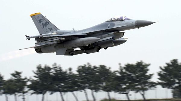 A U.S. Air Force F-16 fighter takes off during annual exercises with South Korea at a U.S. air base in Gunsan, South Korea, in April. North Korea implied the summit with President Trump could be canceled because of the exercises.