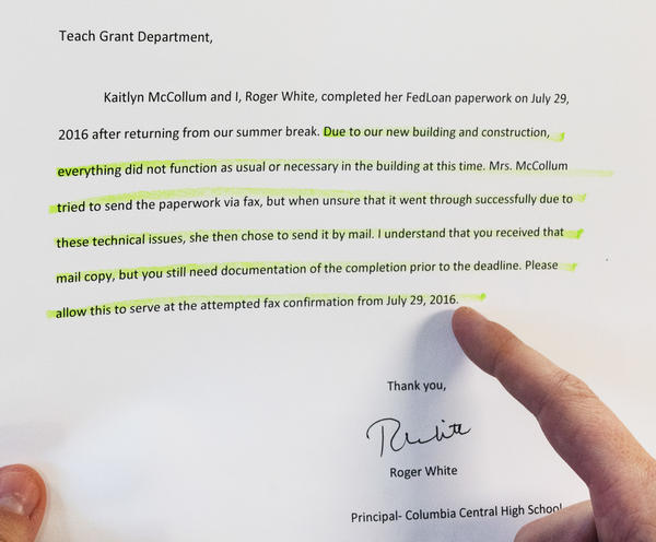 McCollum sent FedLoan a signed letter from her school principal confirming that they had completed her TEACH grant's annual certification paperwork ahead of the deadline and that McCollum had tried to fax the paperwork from the school office