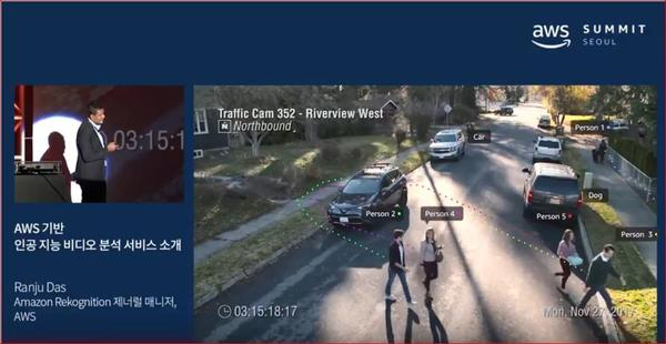 In this video, Amazon's Ranju Das demonstrates real-time facial recognition to an audience. It shows video from a traffic cam that he said was provided by the city of Orlando, where police have been trying the technology out.