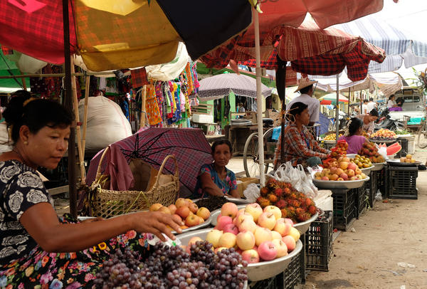 A market on the Strand, a main thoroughfare in Sittwe.