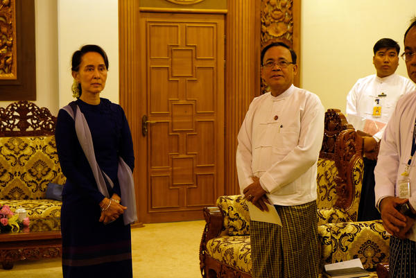 Myanmar state counselor Aung San Suu Kyi awaits a delegation of U.S. officials at the Ministry of Foreign Affairs in Myanmar's capital, Naypitaw.