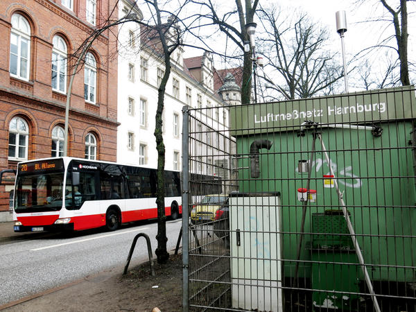 This air monitoring station on Max-Brauer-Allee, one of the streets now off-limits to most diesel vehicles, is one of 18 in Hamburg that measure nitrogen oxide levels. Nitrogen oxides are present in vehicle exhaust.