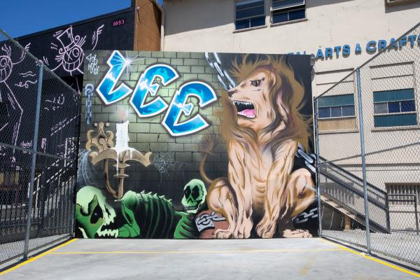 """New York artist Lee Quiñones painted a full-size handball court for """"Beyond the Streets."""""""