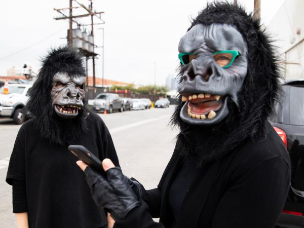 """The Guerrilla Girls got the idea to hide their faces with gorilla masks after one of them misspelled """"guerrilla"""" in a doodle."""