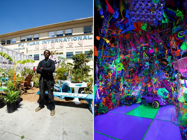 Left: Artist Ron Finley, aka the Gangsta Gardener, constructed one of his outdoor gardens for the exhibition. Right: Artist Kenny Scharf contributed a Day-Glo, black-lit room.