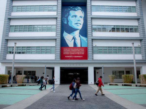 One of several murals of Robert Kennedy is displayed at the Robert F. Kennedy Community Schools in Los Angeles.