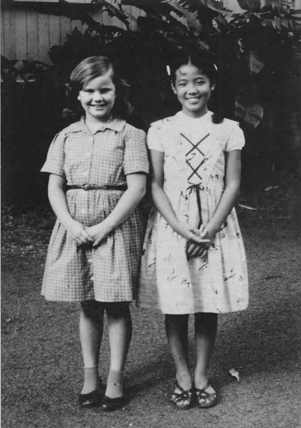 Hirono, right, with Pamela Collins, her best friend in grammar school, at Kaahumanu Elementary School.