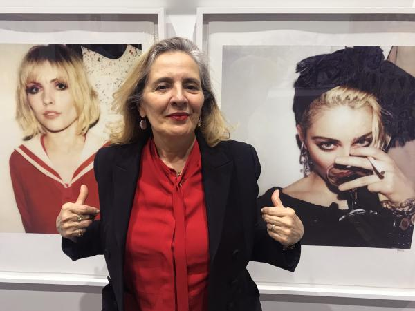 """Maripol styled Blondie for the <em>Parallel Lines </em>album cover and Madonna for the <em>Like a Virgin</em> album cover. She appears here in front of her photographs at """"Beyond the Streets."""""""