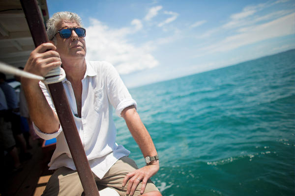 Anthony Bourdain travels in Salvador, Brazil, for CNN's <em>Anthony Bourdain: Parts Unknown</em> in 2014.