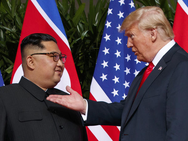 President Trump meets with North Korean leader Kim Jong Un on Sentosa Island in Singapore.