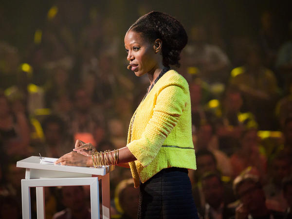 Taiye Selasi on the TED stage.