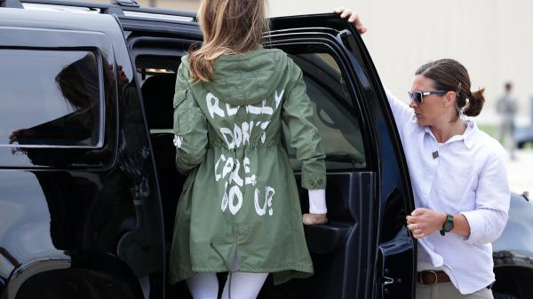 Mrs. Trump climbs back into her motorcade Thursday after traveling to Texas to visit a facility that houses and cares for children detained at the U.S.-Mexico border after entering the U.S. illegally.