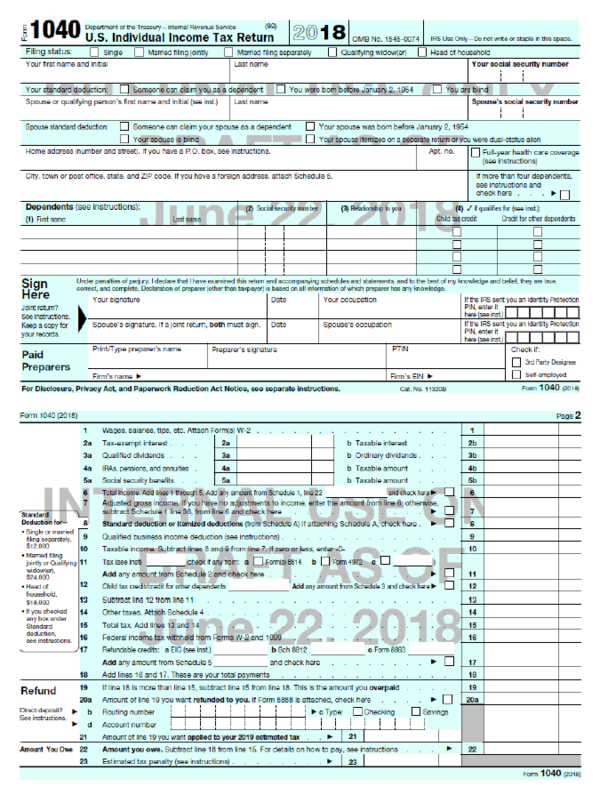 """A draft of the new 1040 tax document, obtained by NPR, that the Trump administration says fits on a """"postcard."""""""