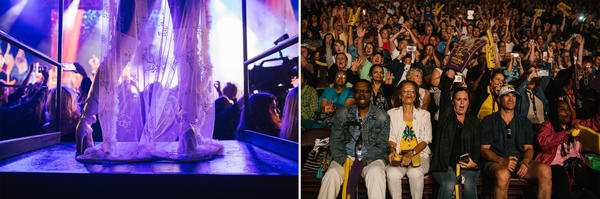 Left: A performer dances during the official opening of the Hard Rock Hotel and Casino in Atlantic City, N.J. on Thursday. Right: Patrons cheer during a performance for the opening ceremonies on opening day of the Hard Rock Hotel and Casino in Atlantic City, N.J. on Thursday.