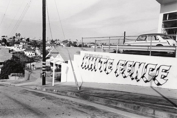 White Fence is a primarily Mexican-American gang in Eastside LA. Rodriguez says this 1960s tagging was whitewashed shortly after this photo was taken.