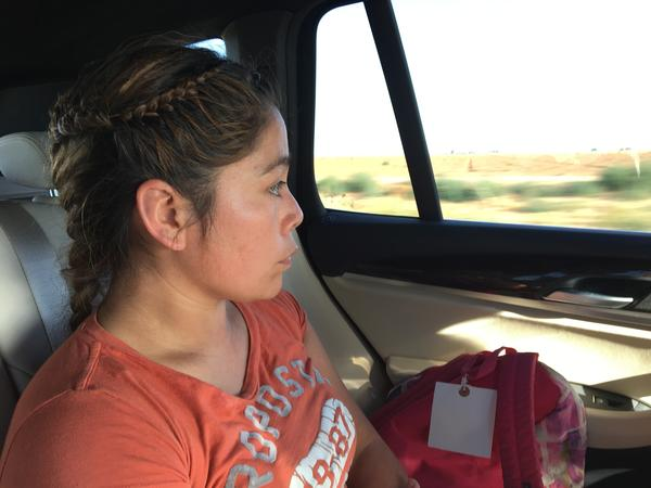 Gonzalez travels in her lawyer's car after being released from detention in Eloy, Ariz. She was reunited with her three children on Tuesday in New York City.