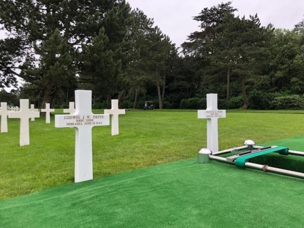 Headstones for Ludwig and Julius Pieper sit side by side in an American military cemetery Normandy.