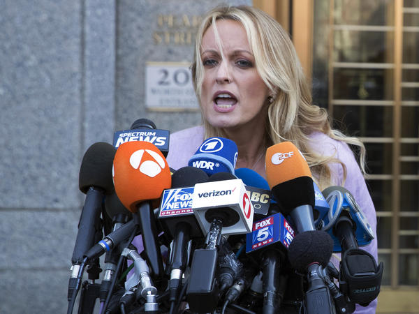 Adult film actress Stormy Daniels speaks outside federal court, in April in New York. She had filed suit charging that President Trump had defamed her.
