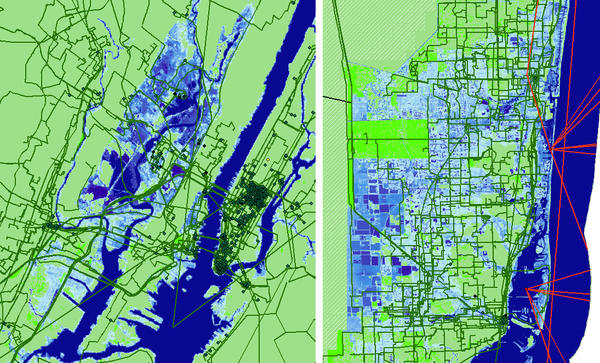 The most severe NOAA model of sea level rise shows areas that are projected to be underwater in New York (left) and Miami by 2033 in blue. Green lines represent fiber cables that deliver Internet.