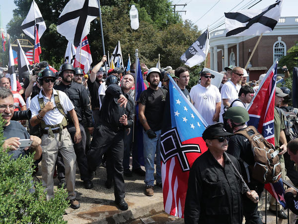 "White nationalists, neo-Nazis, KKK and members of the ""alt-right"" demonstrated during last year's ""Unite the Right"" rally in Charlottesville, Va."