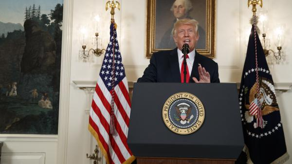 """President Donald Trump condemned neo-Nazis and white supremacists in remarks about the Charlottesville, Va. rally at the White House on Monday, Aug. 14, 2017. He later undercut these remarks by blaming """"both sides"""" for the violence at the rally."""