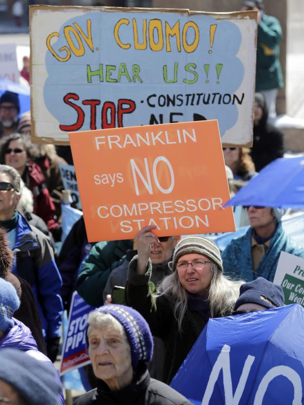 Environmental groups opposing the Constitution Pipeline rally outside the state Capitol on Tuesday, April 5, 2016, in Albany, N.Y.