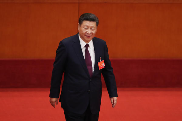 """Chinese President Xi Jinping, shown here during the opening session of the 19th Communist Party Congress in Beijing, """"is running China in crisis mode,"""" says New Zealand academic Anne-Marie Brady, """"and China under Xi is following a very ambitious, a very assertive foreign policy."""""""
