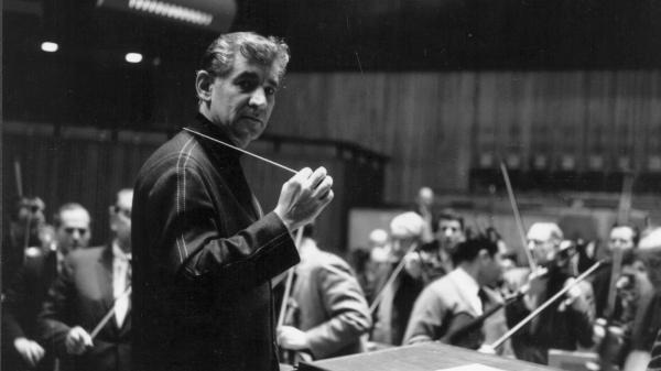Leonard Bernstein conducting at London's Royal Festival Hall in 1963.