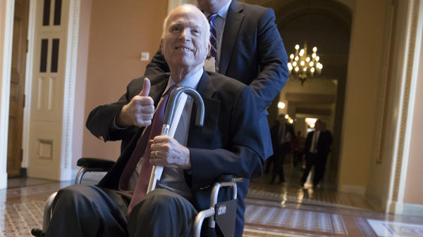 """John McCain at the Capitol in December 2017. In one of his final floor speeches, McCain bemoaned the current state of politics. """"Stop listening to the bombastic loudmouths on the radio and television and the Internet ... """" he said. """"Our incapacity is their livelihood."""""""