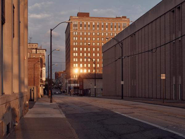 Downtown Youngstown, Ohio, this summer. The region's economy was hit hard in 1977, when Youngstown Sheet & Tube announced it would shut down, wiping out thousands of jobs.