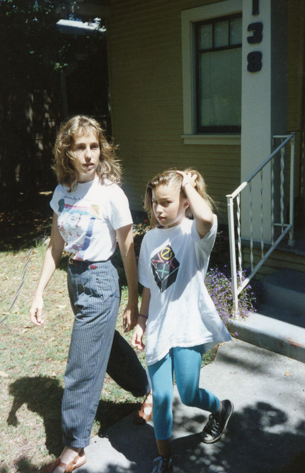 The author of <em>Small Fry</em>, Lisa Brennan-Jobs, walks with her mother, Chrisann Brennan, in Palo Alto, Calif. in the early 1990s.