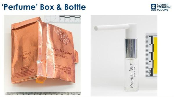 """A counterfeit perfume box and bottle were """"especially adapted"""" to smuggle a deadly nerve agent into the U.K., said Assistant Commissioner Neil Basu."""