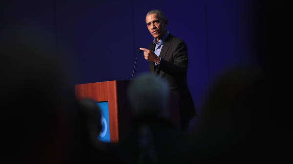 Former President Barack Obama at a gathering during the North American Climate Summit last year in Chicago. Since he left the White House, Obama has stayed quiet, declining to directly challenge his successor.