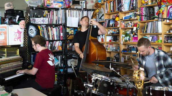 GoGo Penguin performs a Tiny Desk Concert on August 7, 2018 (Samantha Clark/NPR).