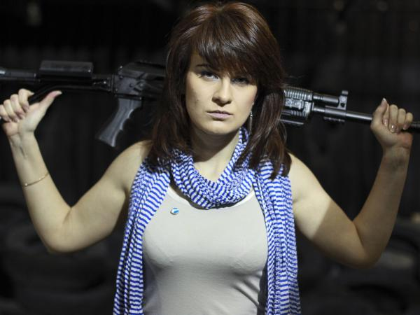 Maria Butina, seen here at a Russian shooting range in 2012, belonged to a relatively small group of gun enthusiasts around Moscow.