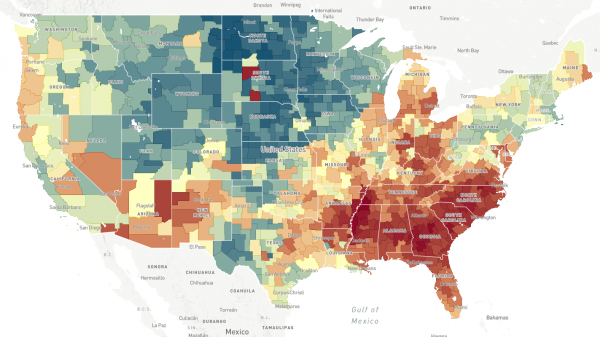 """This map, a screenshot from <a href=""""http://www.opportunityatlas.org/"""">The Opportunity Atlas</a>, shows household income in 2014-2015 for people born between 1978 and 1983 to low-income parents. In areas that are more red, people who grew up in low-income households tended to stay low-income. In areas that are more blue, people who grew up in low-income households tended to make more money."""