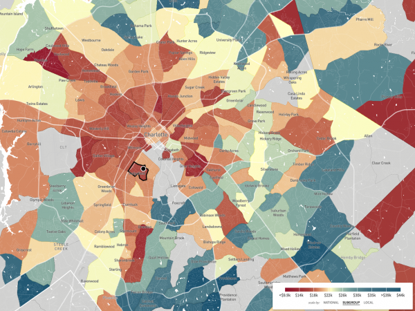 """This map, a screenshot from <a href=""""http://www.opportunityatlas.org/"""">The Opportunity Atlas</a>, shows household income in 2014-2015 for African-Americans born between 1978 and 1983 to low-income parents. Sedgefield Middle School is in a part of Charlotte where blacks who grew up in low-income households tended to stay low-income."""